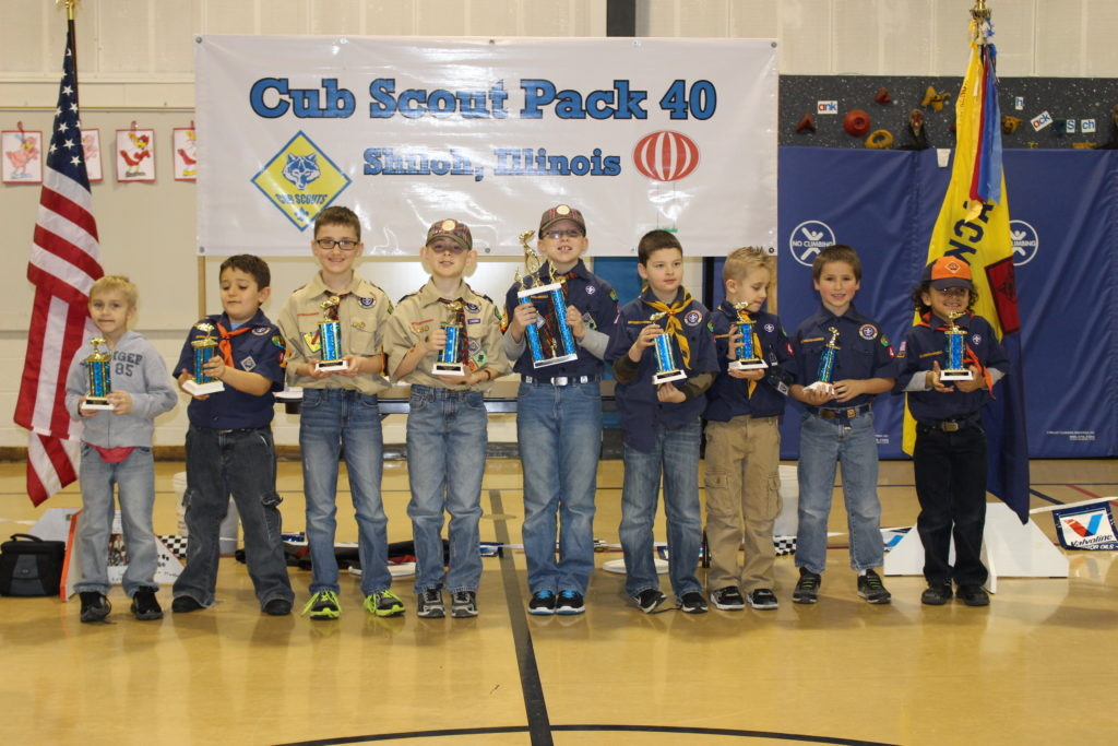 Cub Scouts Pack 40, from left: Gavin Ora (Best in Show), Alex Gunyon (Best Scout Theme), Evan Range (Best Use of Imagination), Ryan Wexell (3rd Place), Brayden Willmont (1st Place), Nathan Stahl (2nd Place), Will Washburn (Most Original), Jackson Gherardini (Scout's Choice), Jace Westlund (Most Energy Efficient).