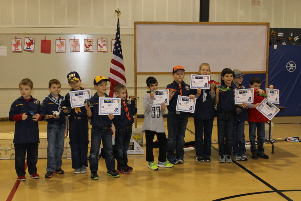 Cub Scouts Pack 41, from left: Wyatt Kurkey, Tyler Kesinger, Logan Berck (Best Scout Theme), Cole Perryman (Best in Show), Colby Bedard, Michael Testa (1st Place Den 1), Andrew Reuting (2nd Place Den 1), Colton Yates (Best Use of Imagination), Ryan Clark (Scouts' Choice), Matthew Youngs (1st Place Den 2), Cory Davis (2nd Place Den 2, Most Original), Not Pictured - Dwyer Lifrak