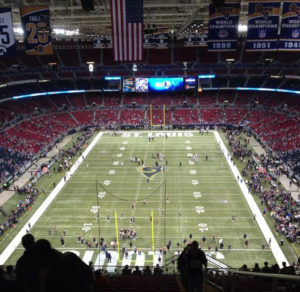 My view from Section 427, Row SS, Seats 1 and 2. That was my home at the Dome for a few seasons worth of Rams football.