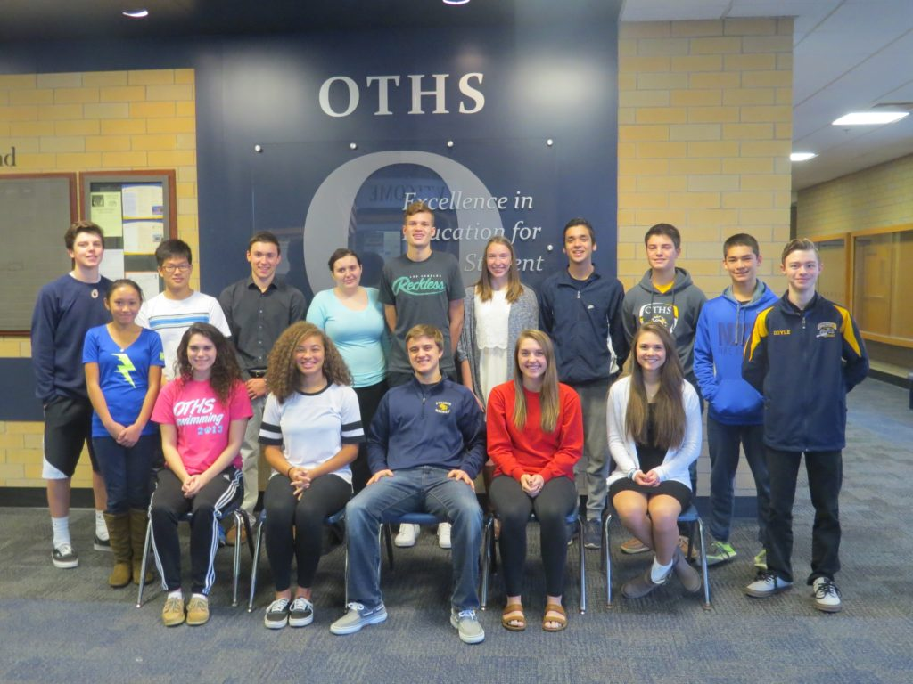 Front row, from left: Carissa Christensen, Maggie Murphy, Makayla Mays, Christopher Duncan, Abbey Johnson, Jessica Hartman, Matthew Doyle.  Back row, from left: Jacob Dreyer, WonJun Kim, Zachary Hess, Sarah Dengler, Ethan Musenbrock, Morgan Blankenship, Jonathan Prouhet, Grant Appel, Johnathan Whitaker. (Submitted Photo)