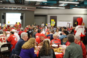 More than 30 tables filled the  main room at the Katy Cavins Center on Saturday night for the O'Fallon Garden Club Trivia Night. (O'Fallon Weekly Photo by Nick Miller)