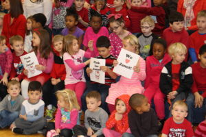 Students displayed signs in support of Janet featuring her favorite cartoon character, Hello Kitty. (O'Fallon Weekly Photo by Nick Miller)