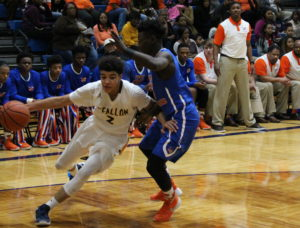 Sophomore Jalen Hodge attempts to get around the Flyers. (O'Fallon Weekly Photo by Nick Miller)