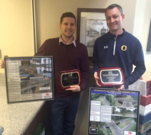 From left, O'Fallon Public Works Director Jeff Taylor and O'Fallon Engineering Project Manager Jon Nolan with the two ACEC Illinois Merit Awards (Submitted Photo)