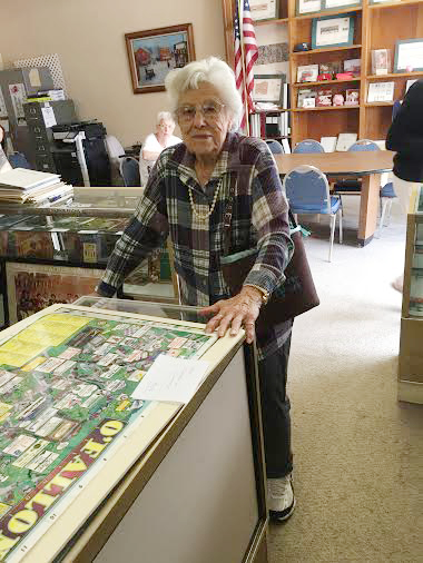 98 Year-Old Elda Viola Keck Scheibel (widow of Cyril Scheibel) stopped by the OHS Museum with other residents of Cedarhurst Care Center in Shiloh. At 98 years old Elda is one of the oldest visitors to the OHS Museum. Elda is pictured in the William Holden - Bernie Fuchs Area of the museum. (Submitted Photo)