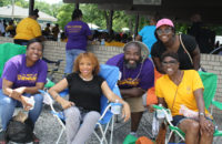 Family and friends relaxed and enjoyed time together. From left to right: Quintella Matthews, Teresa Nunn, and Octavius, Tiffani and Olivia Clark. (O'Fallon Weekly Photo by Angela Simmons)