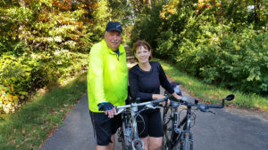 Ron and Phyllis Dickinson enjoying a routine morning bike ride. (Submitted photo)