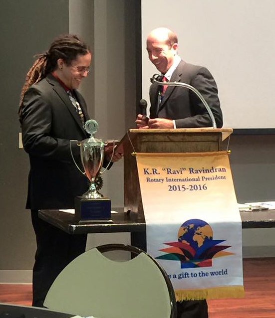 Rotary Club of O'Fallon President Matt Smallheer passes the gavel on to Lex White who begins his time as leader. The Rotary Club of O'Fallon meets each Monday at noon at the Katy Cavins Community Center, located at 308 East 5th Street in Community Park.  (Submitted Photo)