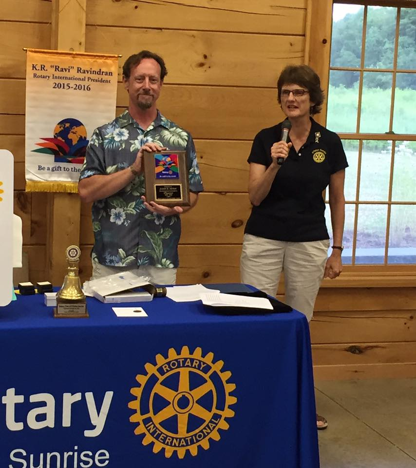 O'Fallon Sunrise Rotary Club's new President Mary Jo Nowobilski honors outgoing President Joe McKay for his service. O'Fallon Sunrise Rotary meets every Wednesday morning at 6:45 a.m. at the O'Fallon Township Building, located at 801 East State Street. (Submitted Photo)