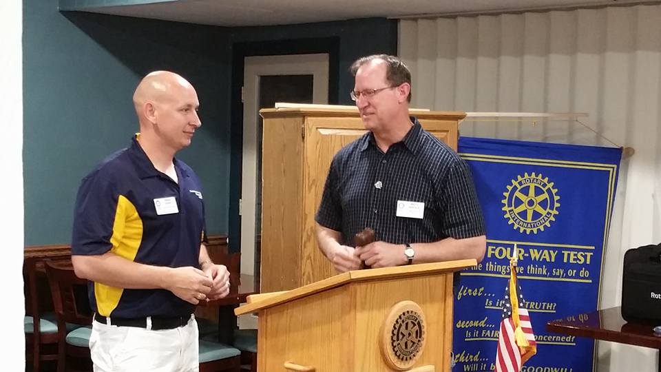 Rotary St. Clair County Sunset President Matt Nikola (right) passes the gavel to new President Brian Derry (left). Rotary SCCS meets every Thursday evening at 6:10 p.m. in the lower level of the Knights of Columbus Hall located at 402 East Highway 50 in O'Fallon. (Submitted Photo)