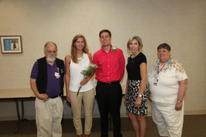 HSHS St. Elizabeth's Hospital Auxiliary Volunteers announce the recipients of the 2016 HSHS St. Elizabeth's Auxiliary Volunteer Scholarships. Pictured from left: Jon Calabra, President of Auxiliary, Emily Stock, scholarship winner, Matthew Warren, scholarship winner, Donna Meyers, Director of Mission Integration, Pastoral Care and Community Benefit, and Jean Duffy, Auxiliary Volunteer Fundraising Chair and member of the Scholarship Committee. (Submitted Photo)