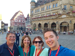 David Lewis and his family take in the sights at the Marktplatz in Rothenburg. (Submitted Photo)