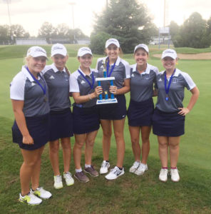 The girls golf team poses with their trophy from the Alton-Marquette Blast Off Tournament. (Submitted photo)