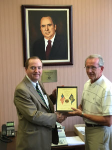 Pictured from left: Bank of O'Fallon President Richard Thoman is presented with a Certificate of Appreciation by Herb Roach, Chairman of Post 137's Boys and Girls State Programs. (Submitted Photo)