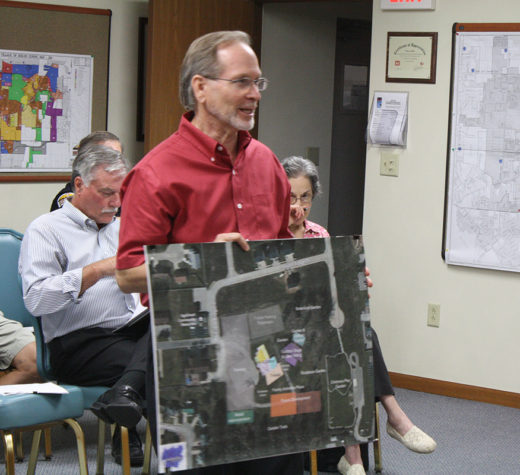 Architecht Gary Karasek proposes Cultural Arts Center on old barn property. (O'Fallon Weekly Photo by Angela Simmons)