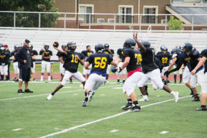 The Panthers played in full pads during Saturday's practice. According to coaching staff, the team is coming together well and they expect a good result on the field this fall.  (O'Fallon Weekly Photo by Nick Miller)