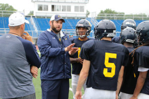 Coaches are working with the Panthers kickers getting them ready to try and fill the shoes of five-star recruit Tucker McCann, who begins his college career at University of Missouri this fall.  (O'Fallon Weekly Photo by Nick Miller)