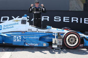 Simon Pagenaud celebrates his win at The Honda Indy 200 at Mid-Ohio. (Photo by INDYCAR Photo: Chris Jones)