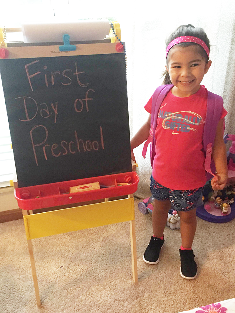 This is Emma Elston and she attends Preschool at EK with Ms. Kathy.