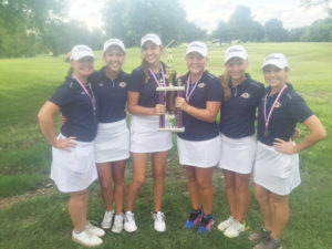 The OTHS girls golf team celebrate their win at the Mascoutah  Invitational (from left): Emily Marrs, Liz Boehning, Natalie Meinkoth, Alyssa McMinn, Briana McMinn, Brooke Boatman (Submitted Photo)