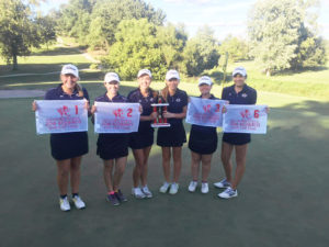 The OTHS Girls Golf Team won first place, out of nine teams, in the Alton Invitational. O'Fallon took first with a score of 310. Additionally, Alyssa McMinn took first overall with a 75, Brooke Boatman got second with a 76, Emily Marrs scored third with 78, and Natalie Meinkoth came in sixth with an 81. (Submitted Photo)