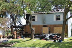 All that remains of 209 Dartmouth Drive following a fire that started in the garage on Tuesday, August 30. (O'Fallon Weekly Photo by Nick Miller)