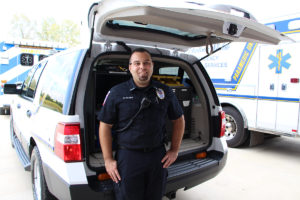 O'Fallon paramedic Ricky Palmer, who was the first to patrol in the new rapid response vehicle, shows off some of the features within it. (O'Fallon Weekly Photo by Nick Miller)