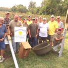 Members of Mississippi Valley Duck Hunters of Illinois pose with Shiloh Mayor Jim Vernier and Village Administrator John Marquart before installing the nesting boxes. From Left to Right: Shiloh Mayor Jim Vernier, John Zimmerman, Kip Schneider, Levi Trentman, Lily Trentman, Luke Buerk, Garrett Trentman, Dave Koderhandt, Gary Stevenson, Pat McKinney, Shiloh Village Administrator John Marquart, Don Bald, and Gerry Brenner. (Submitted Photo)