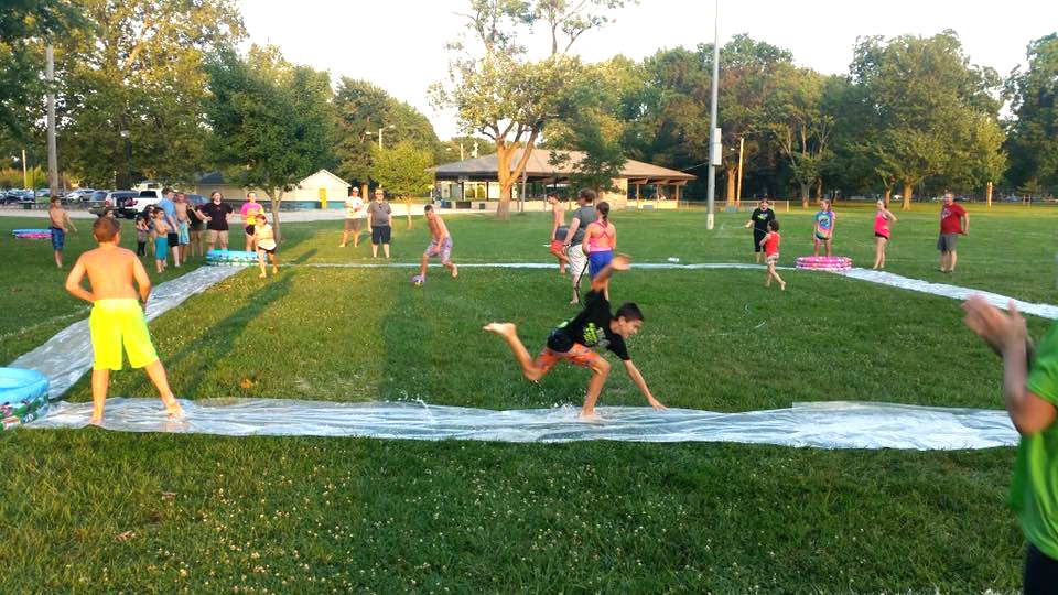 Mason Cornell slides into second during the Slip N Slide Kickball game. (Submitted Photo)