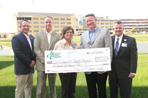 Scott Credit Union recently pledged $250,000 over the next five years to support the new St. Elizabeth's Hospital being built on Green Mount Road near Interstate 64 in O'Fallon. Pictured are, Scott Credit Union Chief Marketing Officer Adam Koishor, SCU Executive Vice President Scott Seidl, St. Elizabeth's Hospital President & CEO Peggy Sebastian, Scott Credit Union President & CEO Frank Padak and St. Elizabeth's Foundation Director David Garris. (Submitted Photo)