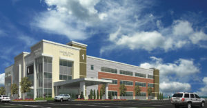 An artist's rendering of the planned three-story, 70,500 square-foot medical office building to be built next to Memorial East in Shiloh (Submitted Photo)