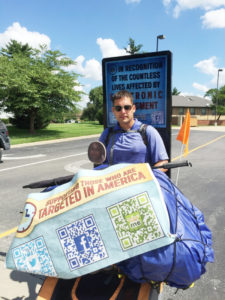 David Voigts and his beagle are walking cross country to raise awareness of alleged military experiments (O'Fallon Weekly Photo by Jeff Egbert)