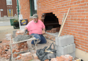 Repairs were quickly made on Wednesday, patching up the hole. By Wednesday afternoon Gia's was back open for business. (O'Fallon Weekly Photos by Jeff Egbert)