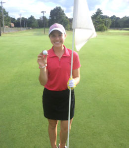 Brooke Boatman scored a hole in one on the 120 yard tenth hole at Yorktown on Monday during practice. (Submitted Photo)