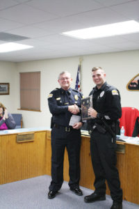 """Shiloh Police Chief Jim Stover stands with Patrolman Zachary Green at the February 2016 Shiloh Police Awards Ceremony. Green won """"Officer of the Year for 2015. (O'Fallon Weekly Photo by Angela Simmons)"""