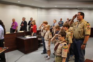 Members of Cub Scout Pack 49 from Moye Elementary School led the City Council in the Pledge of Allegiance. (O'Fallon Weekly Photo by Nick Miller)