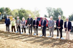 Assembled dignitaries prepare to turn ground last week at the site of the new medical building on the Memorial Hospital East Campus. (O'Fallon Weekly Photo by Angela Simmons)