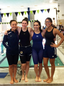 The Panther's IHSA Springfield Sectional winning 200-yard medley Relay squad, (from left) Hanna Barnes, Sierra Workman, Natalie Edwards, and Nicole Moran. The foursome also established a new OTHS school record with the victory. (Submitted Photo)