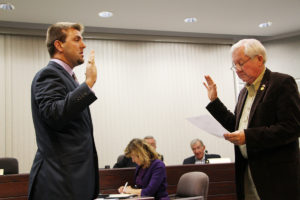 Chris Hursey was sworn in as the new Ward 5 Alderman. Mike Bennett left the seat 44 days ago. Hursey, 27, said he looks forward to bringing new ideas and a fresh perspective to the council. (O'Fallon Weekly Photo by Nick Miller)