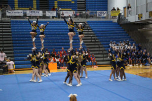 The O'Fallon Varsity Cheerleaders performed an exhibition show at this year's Spirit Fest, held at the Panther Dome on Saturday.  (O'Fallon Weekly Photo by Nick Miller)