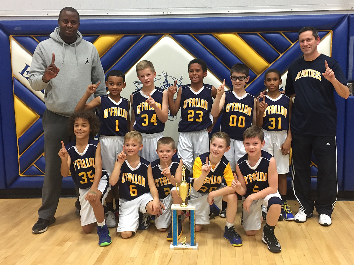 Junior Hoops Champions The Third Grade O'Fallon Jr. Panthers were named the champions of the Hoopville Holiday Tournament, held December 17-18 in O'Fallon. Pictured front row, from left: Elijah Zambrencia, Carson Nix, Reagan Woomer, Luke Smith, Sam McCollum. Back row, from left: Coach Ian Akoro, Quentin Coleman, Owen Stoffel, Ben Akoro,  Anderson Ballard, Nehemiah Swanson, Coach Kevin Smith. (Submitted Photo)