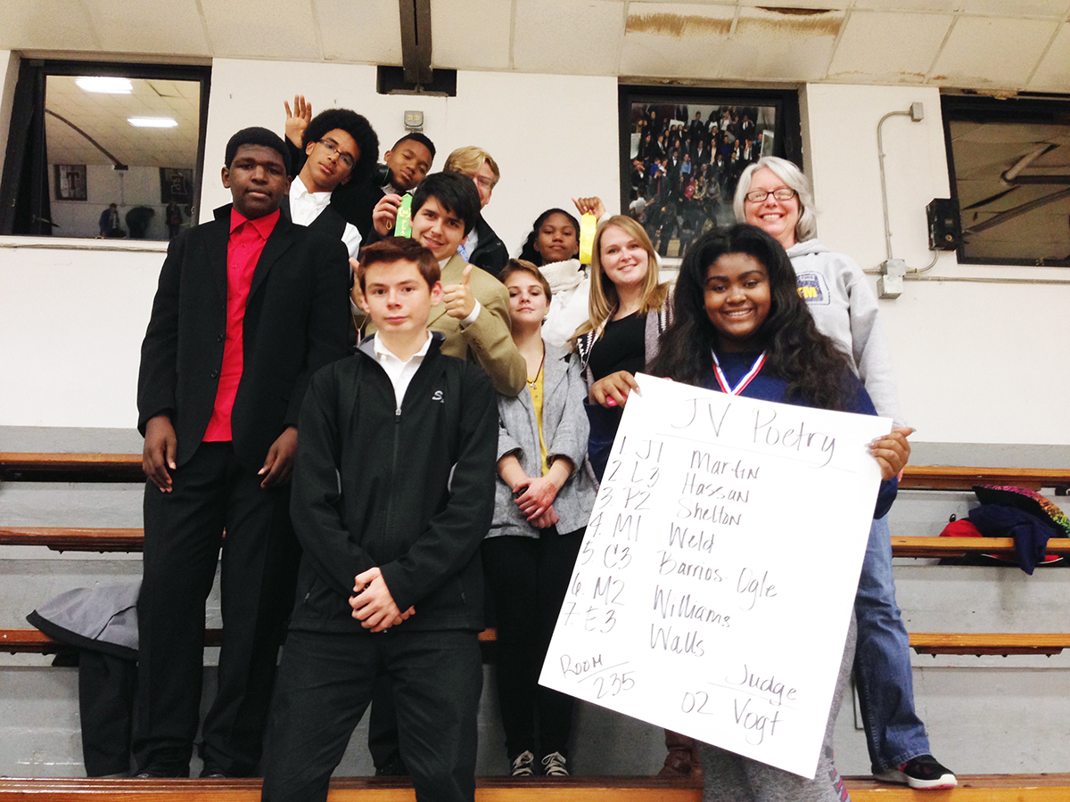 At the November 19, 2016, Benton tournament, the team placed sixth in small school entry. These students broke into finals and earned ribbons or metals: Matthew Prouhet placed sixth in JV original comedy, Ethan Weld placed fifth in JV poetry reading, Olivia Williams placed first in JV poetry reading, and Dallon Beverly placed fourth in JV prose reading.  Pictured from back to front: Kameron McMillan, Kelsey Pearce, Steven Owens, Ethan Weld, Dallyn Beverly, Matthew Prouhet, Alex Hunter, Katie Wolf, Linda Flowers, Sean Mahan, and Olivia Williams.  (Submitted Photo)
