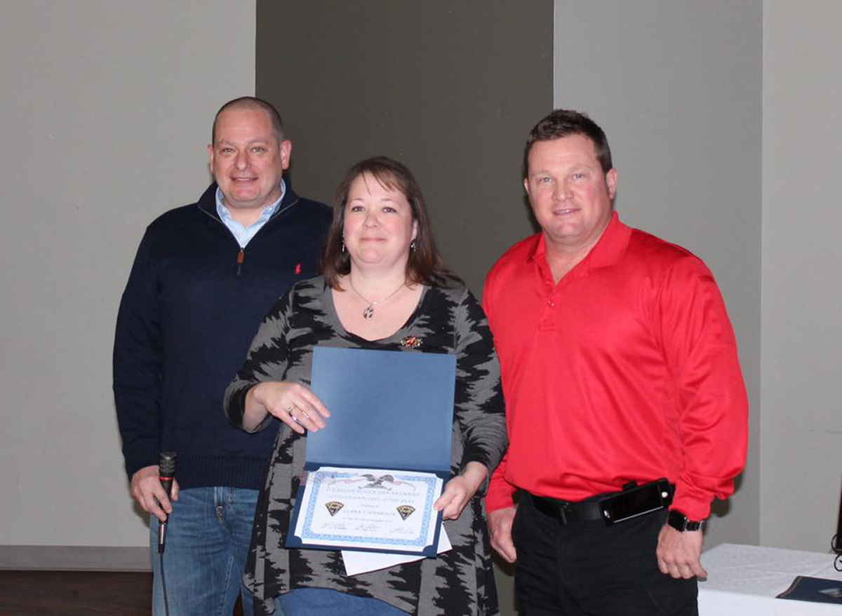Clara Harrison was named the Civilian Employee of the Year. Pictured is Van Hook, Harrison, and Mic Hunter. (Submitted Photo)