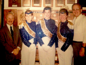 Drum Majors Senior Torrye Vosburgh Kampen, Sophomore Julie Przybyla (Stacey), Junior Erin Baskett  (Cundiff) with Ed Fulton and Vince Sue Taylor Hopkins Cosmano in the Fall 1997  (Courtesy of Torrye Vosburgh Kampen)