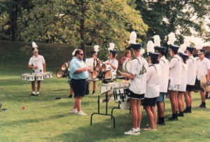 Drumline practices before a parade. (Courtesy of Joanna Theismann)