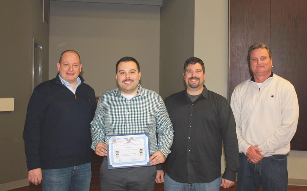 Ricky Palmer was named the EMS Employee of the Year. Pictured from left: Van Hook, Palmer, Jeremy Sherman, Jeff Wild. (Submitted Photo)