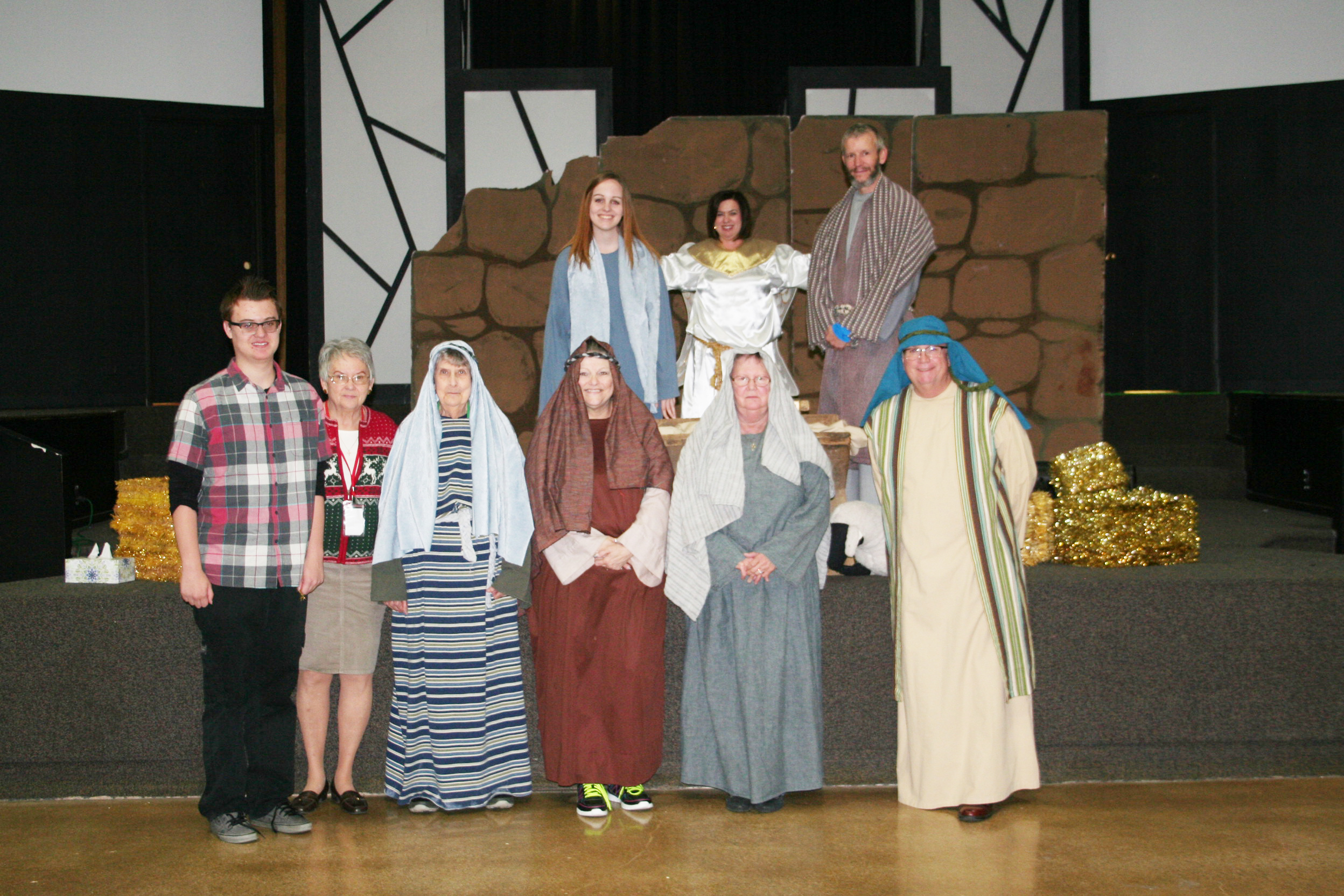 The cast and crew of Creation Corner's LaPosada.  Front row, from left: Nathan Luttrell, Sharon Panek, Kathy Kaemper, Ellie Nesman, Ginny Piper, Ron Gilreath. Back row, from left:  Danielle Ryan, Jamie Millard, and Jim Zagorski. (Submitted Photo)