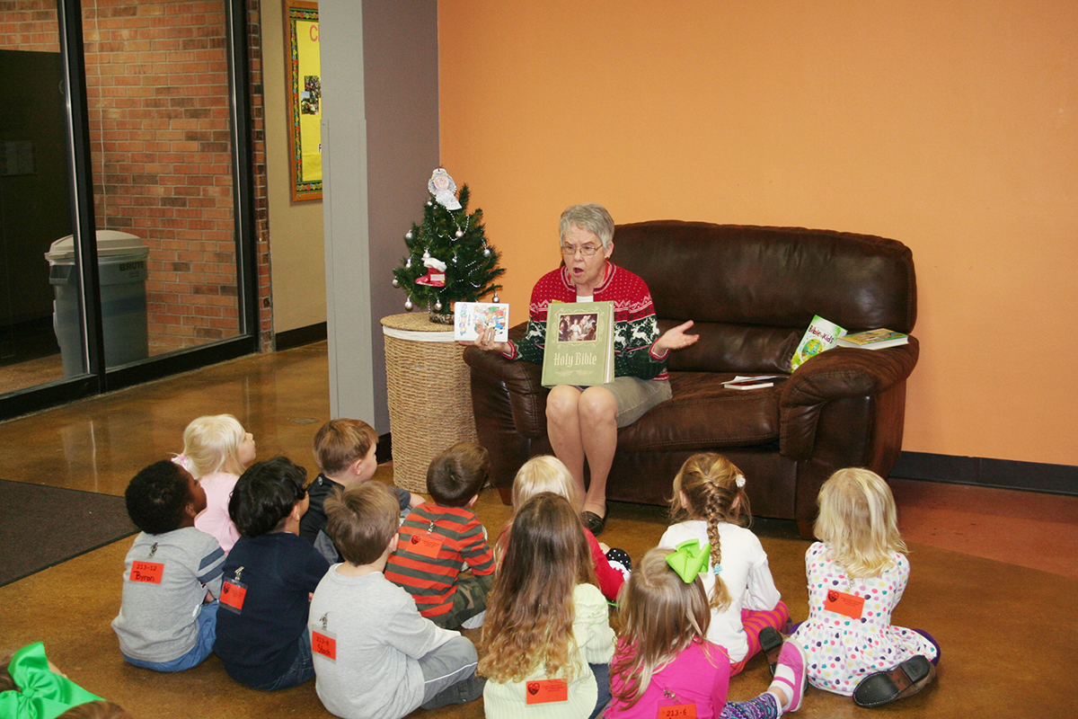 Story teller Sharon Panek prepares the children for their journey with Mary and Joseph to Bethlehem.  (Submitted Photo)