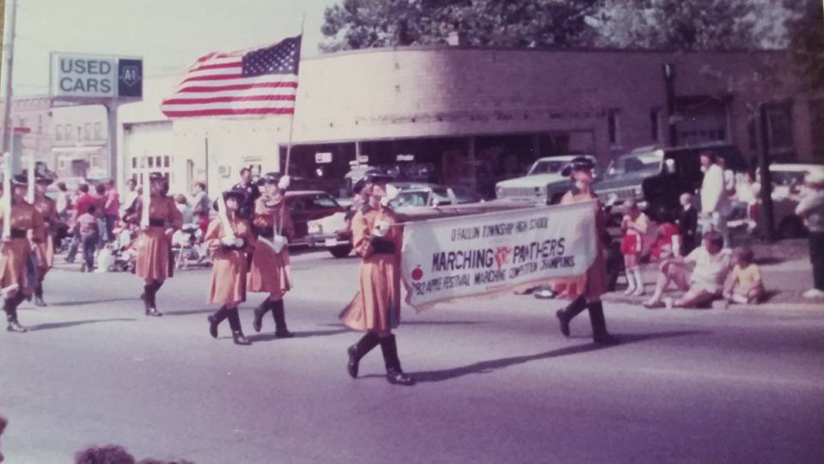 The Marching Panthers lead a parade during the early 1980's. ( Courtesy of Kay Koller)
