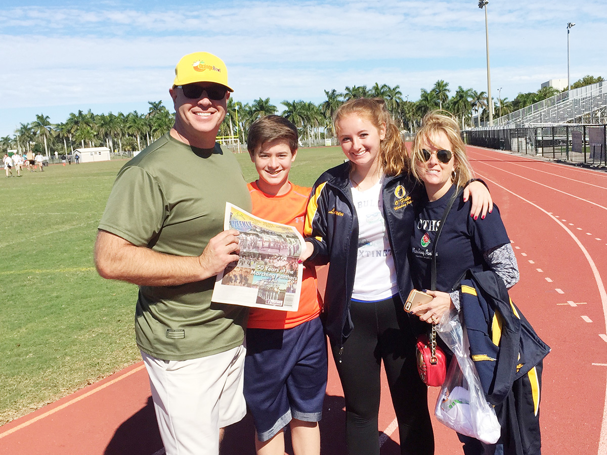 Steve, Jack, Lauren, and Patti Sexauer traveled to Miami to see the Lauren and the OTHS Marching Panthers perform at the Orange Bowl. This photo was taken in Fort Lauderdale after the final practice for the half time show with DNCE -Joe Jonas.